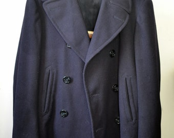 Vintage 1960s US NAVY Wool Pea Coat Kersey Anchor Buttons Chamois Lined Pockets Size 38
