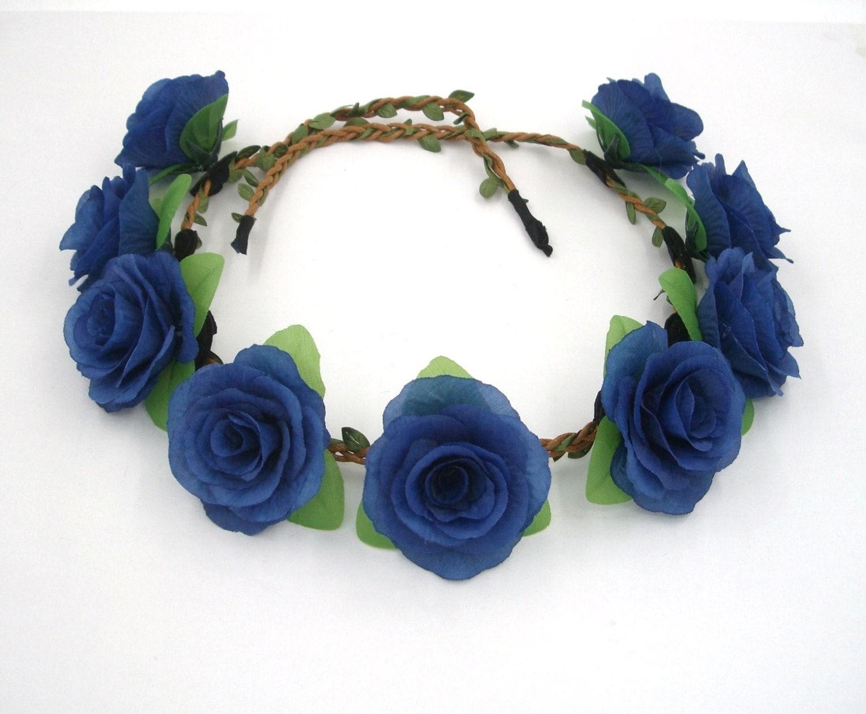 Navy blue flower crownblue rose headbandblue rose crownblue zoom izmirmasajfo