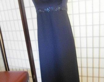 Women's Navy Blue Gown- Iridescent Beading on Bodice