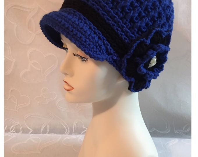 Crocheted Newsboy Hat-Heart-Flapper Cap-1920's Style-Women Accessories -Crocheted Flower-Blue Hat