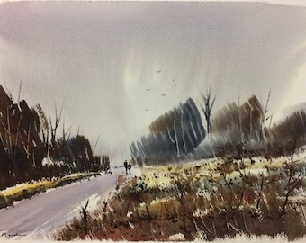 Original Watercolor Landscape Painting - Winters Reach