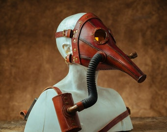 Plague Doctor Mask, Leather Mask, Steampunk. Halloween Mask, Gas Mask