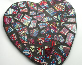 Mosaic Heart Wall Decor - Mosaic Art Home Decor Bright Abstract Design Mosaic Tile Heart Indoor Mosaic Wall Decor - Unique Housewarming Gift