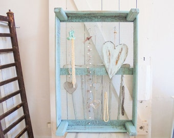 Jewelry Shelf Shabby chic unique turquoise chain Holder Tulip Crate