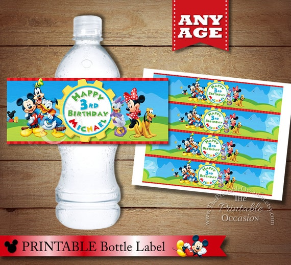Top Personalized Clubhouse MICKEY MOUSE Water Bottle Label Custom IO96