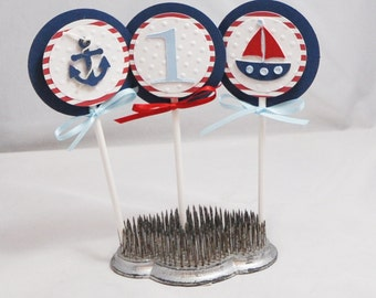 Boy Nautical Cupcake Toppers, Set of 12, Nautical Party, Nautical Birthday, Nautical Baby Shower, Nautical Toppers, Nautical Cupcake