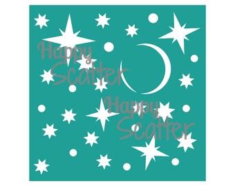 """Stars Stencil, Stars Of Wonder 6x6"""" Stencil, Night Stencil, Pattern Stencil, 6x6 Stencil, Mixed Media Stencil, Scrapbooking, Cardmaking"""