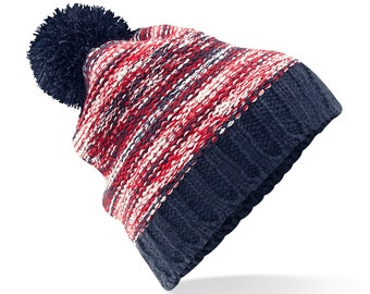 Three To The Sea Slalom Border Bobble Beanie Hat