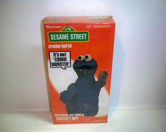 Vintage RARE 1979 Muppet Inc Sesame Street COOKIE MONSTER Crochet Doll Kit Retro