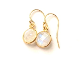 Moonstone Gold Earrings, Tiny Rainbow Moonstone, Faceted Round Moonstone Gemstone, choose your gemstone