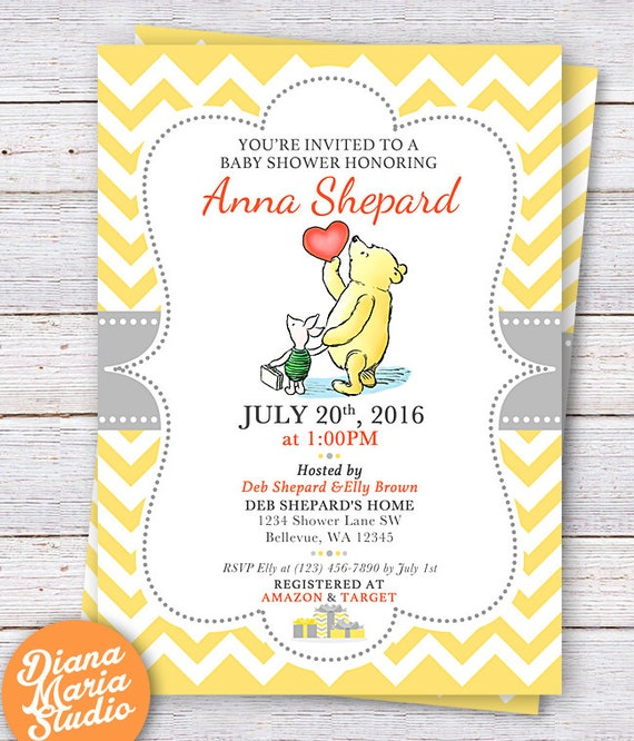 Winnie The Pooh Baby Shower Invitation Classic Winnie The