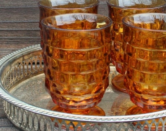 Vintage Amber Juice Glasses Whitehall Footed Drinkware Cube Pattern