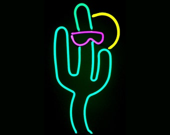 Happy Saguaro Cactus With Sunglasses Neon Freestanding Art Sculpture
