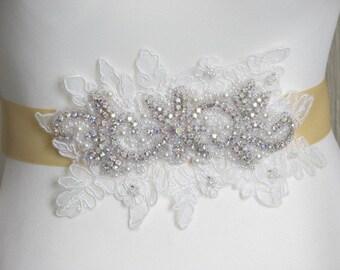 Bridal sash Yellow ribbon sash Ivory lace sash Rhinestones sash Yellow satin sash Yellow wedding sash Lace bridal sash Wedding dress