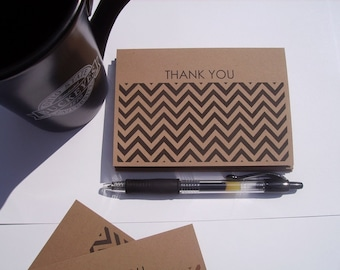 Flat Chevron Thank You Cards - Black Kraft Chevron Thank You Notes, Modern Thank You Cards, Rustic Earthy Neutral Stationery Flat Card Set
