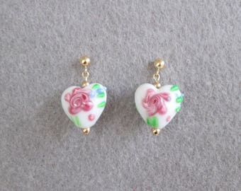 Heart Drop Earrings on 14K Gold-Filled Posts - White Glass Beads with Pink Flowers