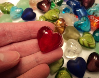 Glass Heart Mix - Set of 5 - Size 20mm - NEW COLORS ADDED!  See pictures