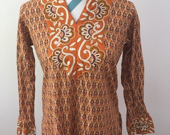 Vintage 1970s Caftan Tunic Indian Ethnic Dress Brown Orange Paisley Small