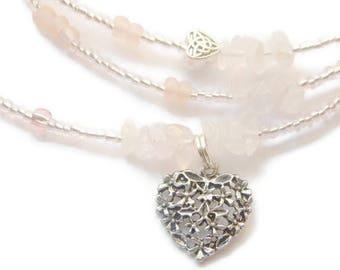 Blessed Waist Beads, Rose Quartz Waist Beads, African Waist Beads, Pink Waist Chain, Belly Beads, Gemstone Waist Beads, Romantic Jewelry