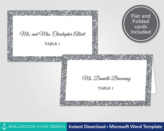 Silver Glitter Wedding Place Cards Template For Microsoft Word - Wedding place card template word