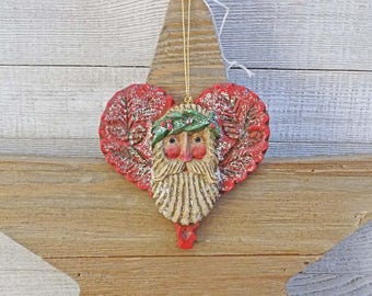 Pam Schifferl Ornament Belsnickle Santa w/ Red Heart Vintage Christmas New OS Enchanted Winter's Eve Midwest Cannon Falls Signed 2 Available