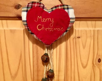 Scandi Tartan Heart and Bell Hanging Christmas Decoration