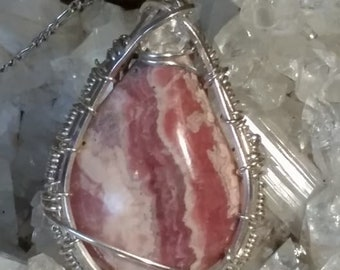 Sterling Silver Woven Rodochrosite With Crystal Accent Pendant