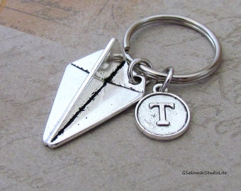Paper Plane Charm Keyring Charm. Personalized Antique Silver Initial Origami Plan Charm Keyring Key Chain, Choose your Initial Style