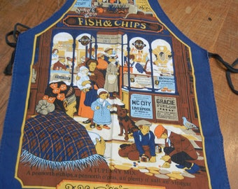 Fish and Chips apron - Vintage British apron- Merry Old England - Fish & Chips Shoppe