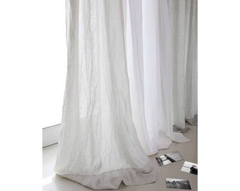 white curtains living room. Two linen curtains 52 Bedroom panels Washed stone  Livingroom Linen white panel 15 colors