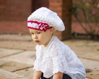 Knit Baby Girl Hat, Great Baby Baptism Gift, Little Girl Slouch, Toddler Girl Beanie Kids Knit Wear Christening Clothing Gift Wrap available