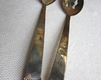 Vintage Three Crown Beaded Silverplate Serving Set Spoon and Fork