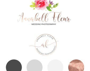 Photography logo, Rose gold brand logo, Rose gold logo, Premade logo, Watercolor logo, flower logo, blog logo kit, blog logo package