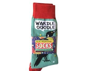Magpie Talk socks | MENS SOCKS | Blue Mountains Socks australian made, original design, australiana, blue mountains, bird, fun, aussie