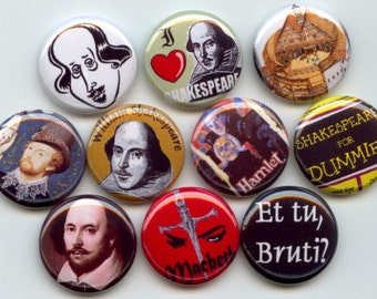 """SHAKESPEARE William 10 Hand Pressed Pinback 1"""" Buttons Badges Pins"""