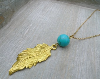 Long feather necklace, Raw brass necklace, Long Turquoise necklace