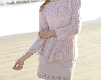 Alpaca/Silk hand knit sweater in different colors of cuddly yarn