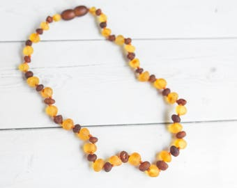 Round Amber Teething Necklace- Raw Amber- Amber Teething - Child's Amber Necklace - Genuine Baltic Amber - Baby Necklace - Shower Gift