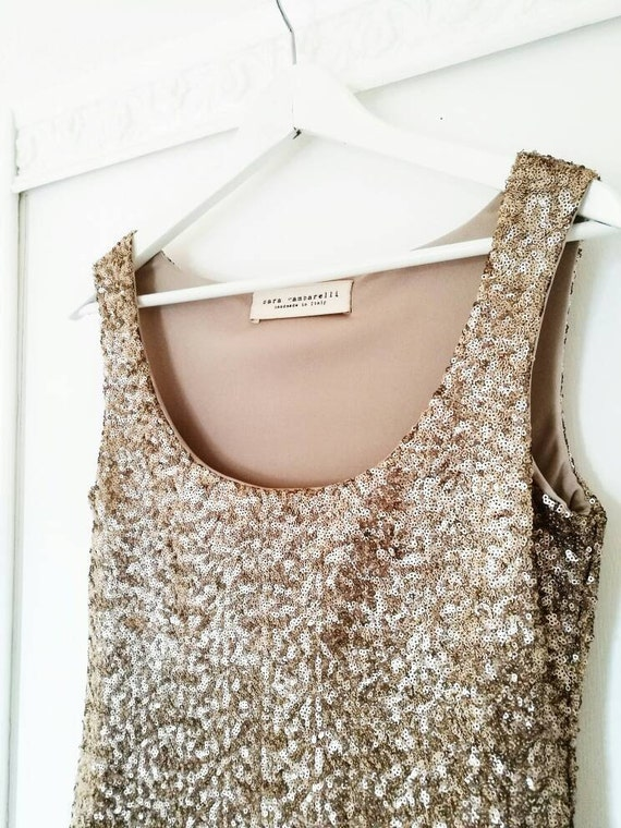 GOLD SEQUIN TOP, sequin tank top, gold evening top, party tank top, gold party top, sequined top, gold tank top, New Year's Eve sequined top