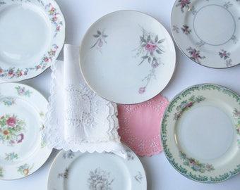 Vintage Floral Mismatched Dessert Plates Set of Six - Bridal Weddings