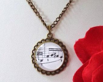Music note necklace Sheet music pendant Victorian brass jewelry Handmade steampunk accessories