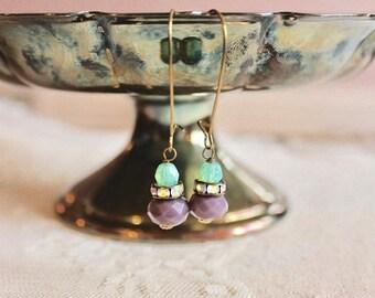 30% OFF SALE Sea foam green, rhinestone, and lavender glass bead drop earrings, kidney wire earrings