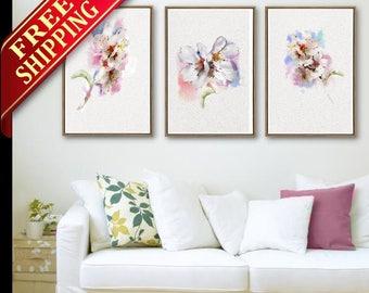 Cherry Flower Wall Art Flower Decor Room Art Print Set 3 Flower Cherry Living Room Art Print Cherry Flower Wall Art Decor Gift Idea