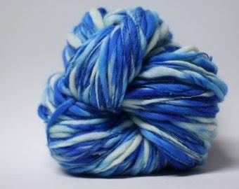 Thick and Thin Yarn Merino Handspun Wool Slub  Hand Dyed tts(tm) Bulky Self Striping miniLR 1501a half-pounder
