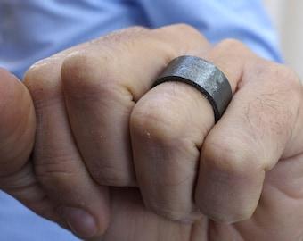 Unique Diamond Wedding Band Wedding Ring Oxidized Silver Mixed Metals Men's Wedding Ring Handmade Wedding Ring Black Diamond Ring Eternety