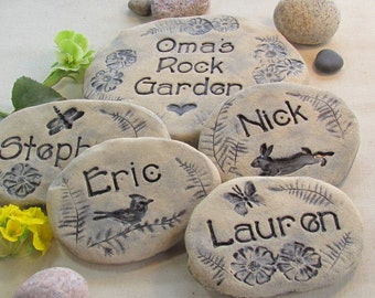 Personalized stones garden art. Children's/Grandchildren's Names. Unique Personalized gift for Grandma, Grandmother, Mom /  Mothers Day