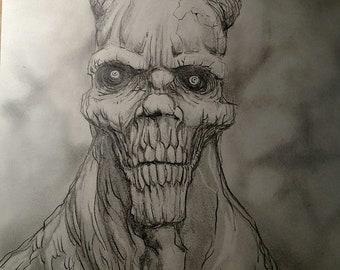 The Devil's Stare original  Dark Art pencil drawing