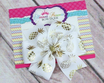 Pineapple Hair Bow - Gold White Hair Bow - Pinwheel Hair Bow - Back to School Bows - Toddler Hair Bows - Girls Hair Bows - 4 Inch Hair Bow