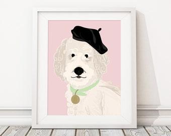 Fancy Pet Portrait Illustration - Custom Dog Pop Art Caricature -Personalized Gift or Pet Memorial Remembrance Artwork Keepsake Print or PDF
