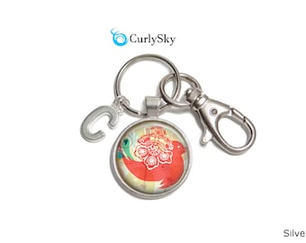 Coral Keychain Coral Pink Keychain Coral Flower Keychain Coral Pink Keyring Coral Bird Keychain Coral Accessory Coral Flower Keychain